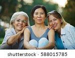 three mature ladies smiling    Shutterstock . vector #588015785