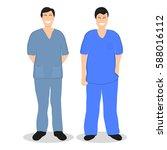 two doctors men  flat design ... | Shutterstock .eps vector #588016112