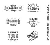barber shop emblems set shaving ... | Shutterstock .eps vector #588016652