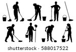 people with mob silhouettes on... | Shutterstock .eps vector #588017522