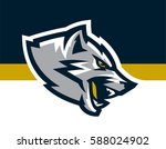 logo  mascot of aggressive wolf ... | Shutterstock .eps vector #588024902