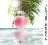 beautiful pink perfume bottle... | Shutterstock .eps vector #588028442