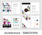 memphis geometric background... | Shutterstock .eps vector #588029396