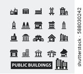 buildings icons  | Shutterstock .eps vector #588030242