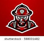 logo  mascot firefighter.... | Shutterstock .eps vector #588031682
