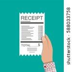 hand holds receipt. paper... | Shutterstock .eps vector #588033758