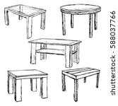 sketch set isolated furniture.... | Shutterstock .eps vector #588037766