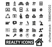 realty icons   Shutterstock .eps vector #588040202