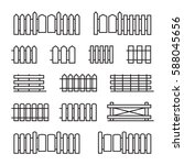 fences flat line icons. set of... | Shutterstock .eps vector #588045656