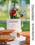 beautiful live flowers in vases ... | Shutterstock . vector #588045902