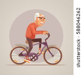 grandfather character ride bike.... | Shutterstock .eps vector #588046262