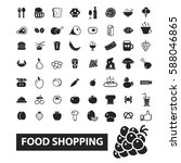 food shopping icons  | Shutterstock .eps vector #588046865
