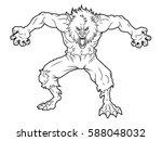 cartoon werewolf line art | Shutterstock .eps vector #588048032