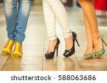 girls and shopping  slender... | Shutterstock . vector #588063686