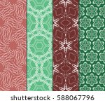 set of modern floral pattern of ... | Shutterstock .eps vector #588067796
