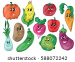 funny various cartoon vegetables | Shutterstock .eps vector #588072242