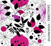 floral fantasy seamless pattern.... | Shutterstock .eps vector #588079592