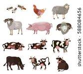 set of vector farm animals | Shutterstock .eps vector #588084656