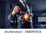 atom molecule icon       .... | Shutterstock . vector #588090926