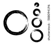 grunge circle with brush. set... | Shutterstock .eps vector #588094196