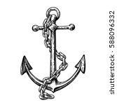 vintage anchor with chain. hand ... | Shutterstock .eps vector #588096332