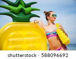 summer lifestyle portrait of... | Shutterstock . vector #588096692