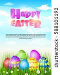 happy easter decorated colorful ... | Shutterstock .eps vector #588101192