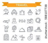 travel icons  thin line  flat... | Shutterstock .eps vector #588107738