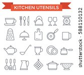 kitchen utensils icons  thin... | Shutterstock .eps vector #588110132