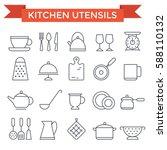 kitchen utensils icons  thin...   Shutterstock .eps vector #588110132