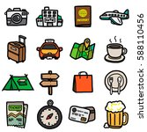 travel objects  icons set  ... | Shutterstock .eps vector #588110456