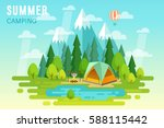 summer camping graphic poster.... | Shutterstock .eps vector #588115442