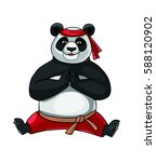 panda doing splits. vector. | Shutterstock .eps vector #588120902