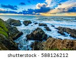 Sunset On The Pacific Ocean At...