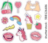 patches  badges  stickers with... | Shutterstock .eps vector #588126686