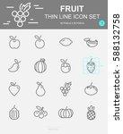 set of  fruit vector line icons.... | Shutterstock .eps vector #588132758