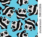 cute panda pattern seamless | Shutterstock .eps vector #588132806