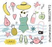 big vector summer set | Shutterstock .eps vector #588137972