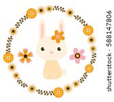 cuter easter bunny and floral... | Shutterstock .eps vector #588147806