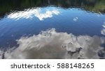 clouds and trees reflecting in... | Shutterstock . vector #588148265