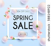 sale banner with flowers ... | Shutterstock .eps vector #588148922