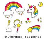 Stock vector stickers set with unicorn rainbow star cloud magic wand for girls cool decoration elements 588155486