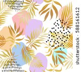 tropical golden palm leaves... | Shutterstock .eps vector #588161612