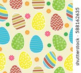 seamless pattern with decorated ... | Shutterstock .eps vector #588162635