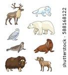 set of stylized vector arctic... | Shutterstock .eps vector #588168122
