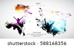silhouette of dancing people | Shutterstock .eps vector #588168356