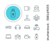 illustration of 12 device icons.... | Shutterstock . vector #588169055