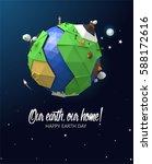 happy earth day poster. vector... | Shutterstock .eps vector #588172616