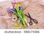 spring cut flower arrangement... | Shutterstock . vector #588174386