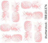 seamless pattern. pineapple... | Shutterstock .eps vector #588181376